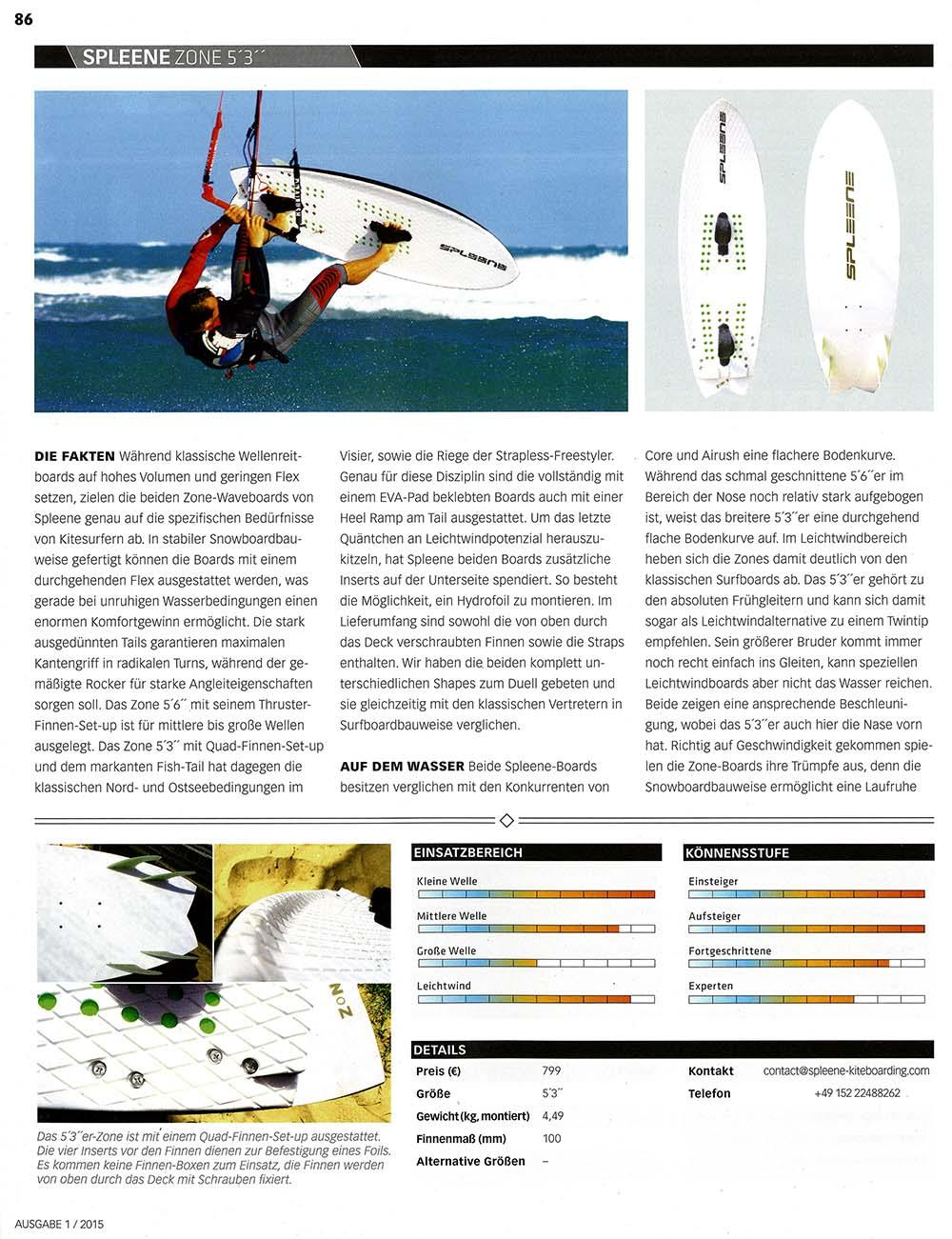 Kitemagazine Test Kite Waveboard Zone by Spleene Kiteboarding