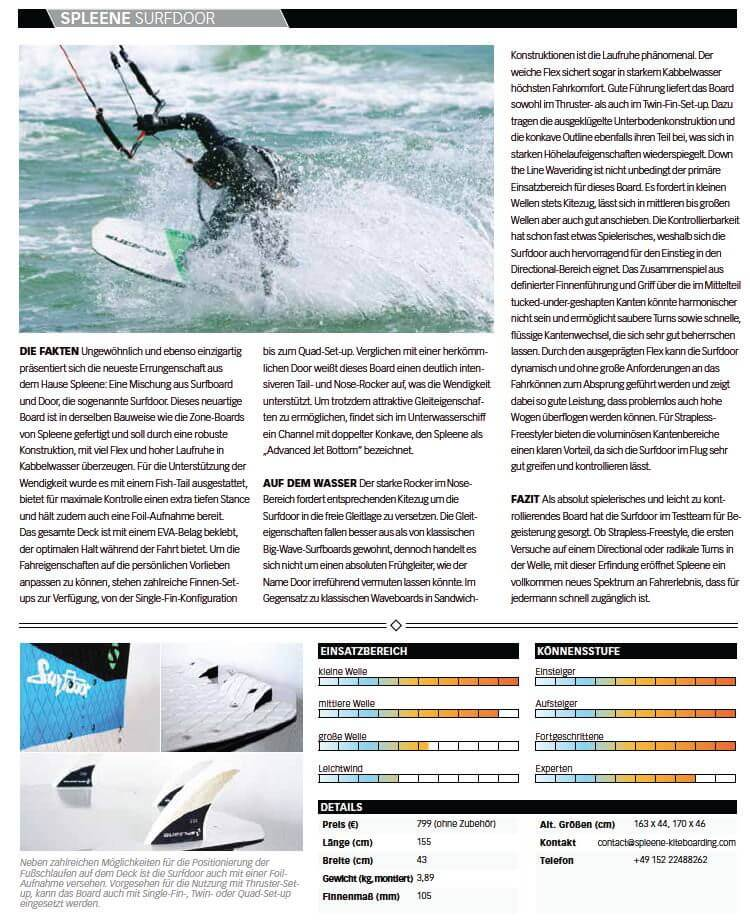 Kitemagazine Test Kiteboard Surfdoor by Spleene Kiteboarding